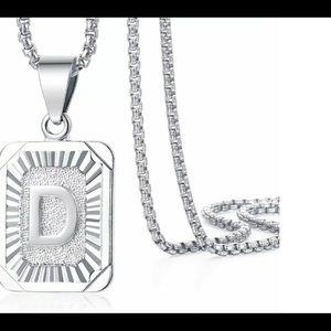 "White Gold Filled Letter D Pendant 20"" Necklace"